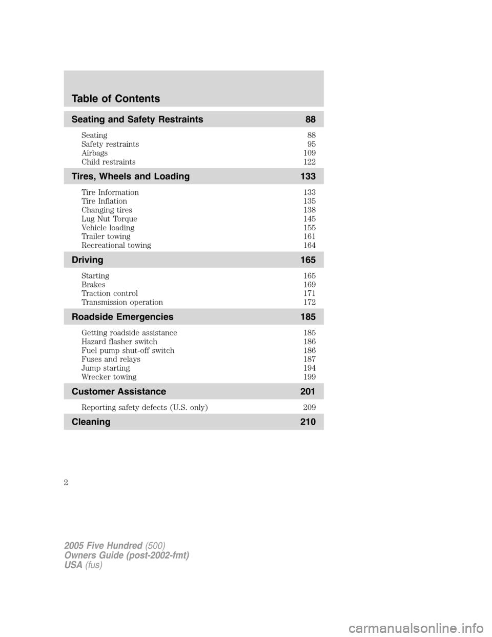 manuel instruction pour ford 2005 five hundred