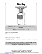 danby dehumidifier instructions manual
