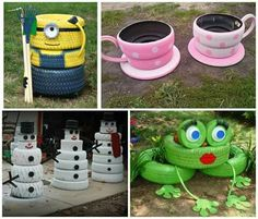 instructions for tire teacup planters
