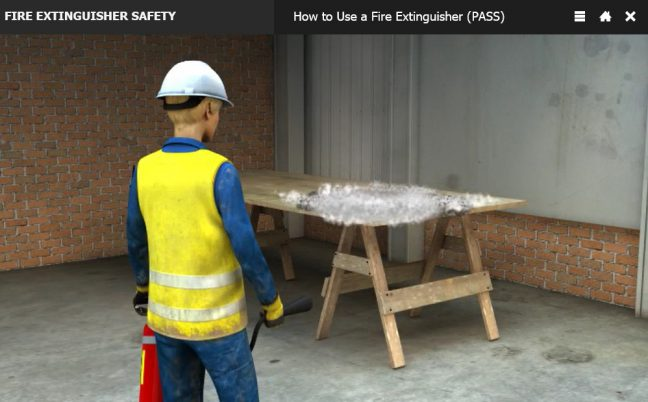 pictorial with usage instructions for fire extinguisher ac