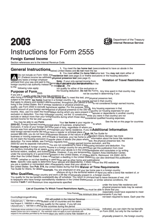 instructions for form 2555 2013
