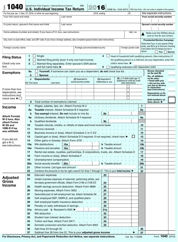 federal tax form 1040ez instructions