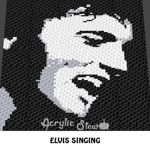knitted blanket instructions for image of elvis presley