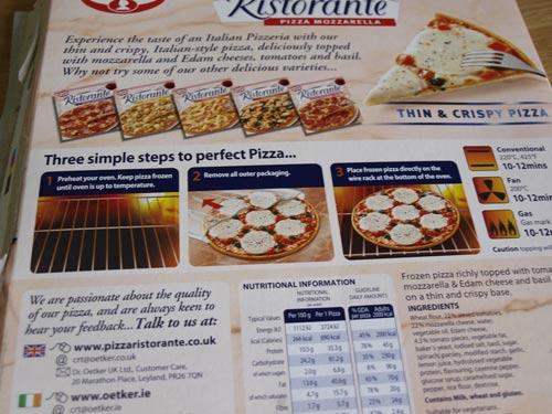 ristorante mozzarella pizza cooking instructions